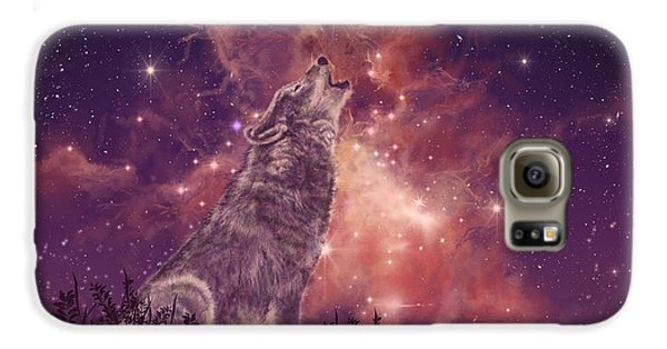 Wolf And Sky Red Galaxy S6 Case by Bekim Art