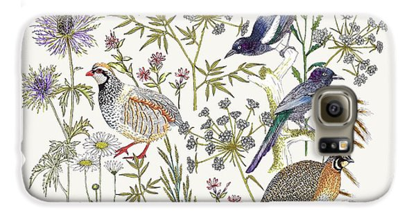 Woodland Edge Birds Placement Galaxy S6 Case by Jacqueline Colley