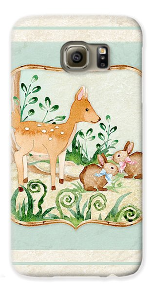 Woodland Fairy Tale - Deer Fawn Baby Bunny Rabbits In Forest Galaxy S6 Case by Audrey Jeanne Roberts