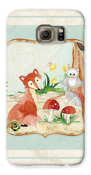 Woodland Fairy Tale - Fox Owl Mushroom Forest Galaxy S6 Case by Audrey Jeanne Roberts