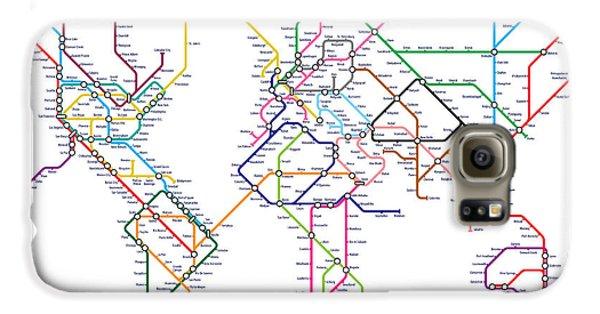 World Metro Tube Map Galaxy S6 Case by Michael Tompsett