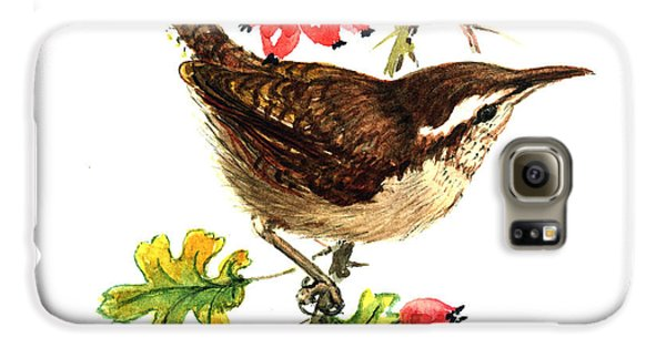 Wren And Rosehips Galaxy S6 Case by Nell Hill