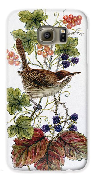 Wren On A Spray Of Berries Galaxy S6 Case by Nell Hill