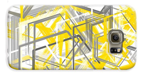 Yellow And Gray Geometric Shapes Art Galaxy S6 Case by Lourry Legarde