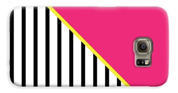 Yellow Pink And Black Geometric 2 Galaxy S6 Case by Linda Woods