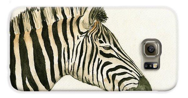 Zebra Head Study Painting Galaxy S6 Case by Juan  Bosco