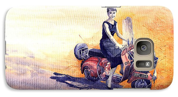 Audrey Hepburn And Vespa In Roma Holidey  Galaxy Case by Yuriy  Shevchuk