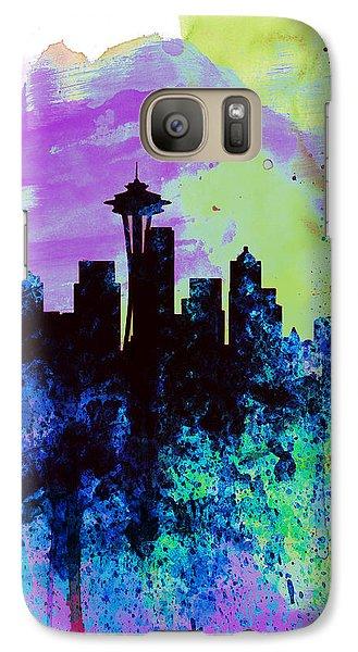 Seattle Watercolor Skyline 1 Galaxy Case by Naxart Studio
