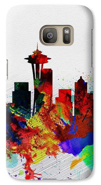 Seattle Watercolor Skyline 2 Galaxy Case by Naxart Studio