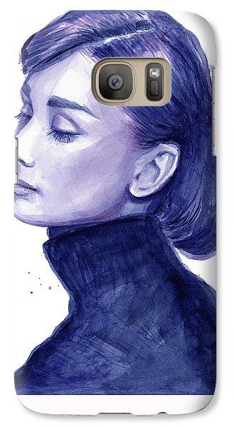 Audrey Hepburn Portrait Galaxy Case by Olga Shvartsur