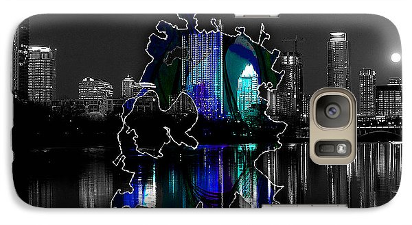 Austin Texas Map And Skyline Watercolor Galaxy Case by Marvin Blaine