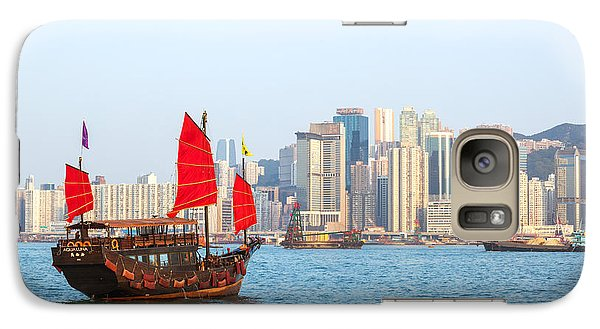 Chinese Junk Boat Sailing In Hong Kong Harbor Galaxy Case by Matteo Colombo