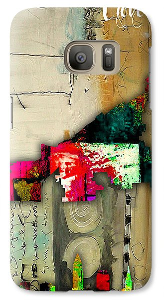 Cleveland Map And Skyline Watercolor Galaxy Case by Marvin Blaine