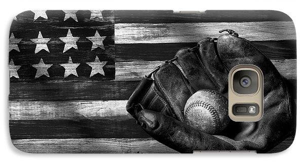 Folk Art American Flag And Baseball Mitt Black And White Galaxy Case by Garry Gay