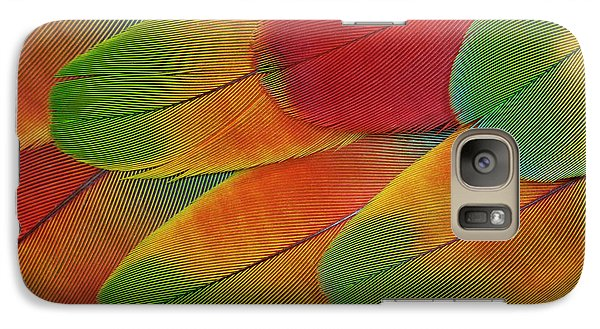 Harlequin Macaw Wing Feather Design Galaxy S7 Case by Darrell Gulin