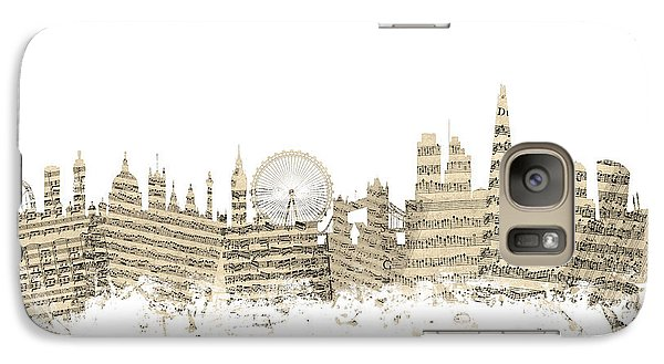 London England Skyline Sheet Music Cityscape Galaxy Case by Michael Tompsett