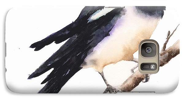 Magpie Painting Galaxy S7 Case by Alison Fennell