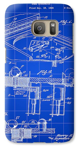 Pinball Machine Patent 1939 - Blue Galaxy S7 Case by Stephen Younts