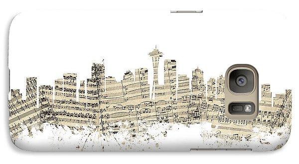Seattle Washington Skyline Sheet Music Cityscape Galaxy S7 Case by Michael Tompsett