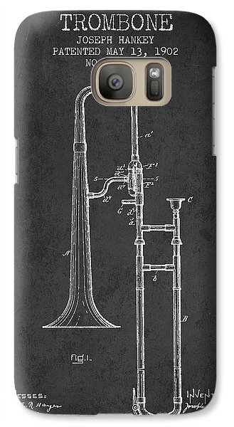 Trombone Patent From 1902 - Dark Galaxy S7 Case by Aged Pixel