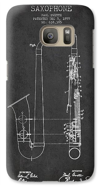Saxophone Patent Drawing From 1899 - Dark Galaxy S7 Case by Aged Pixel