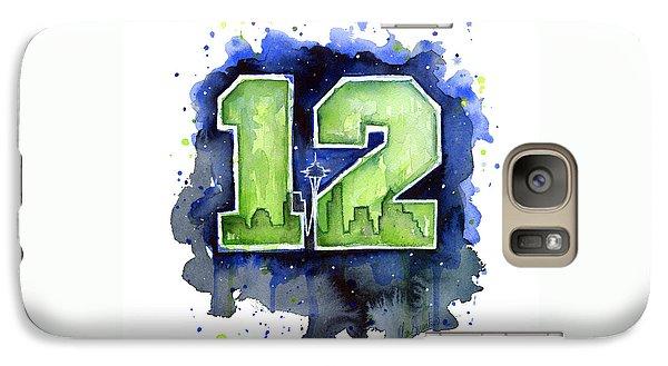 12th Man Seahawks Art Seattle Go Hawks Galaxy S7 Case by Olga Shvartsur