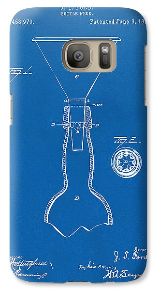 1891 Bottle Neck Patent Artwork Blueprint Galaxy Case by Nikki Marie Smith