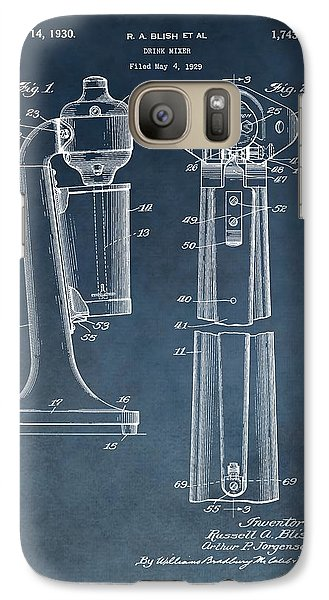 1930 Drink Mixer Patent Blue Galaxy S7 Case by Dan Sproul