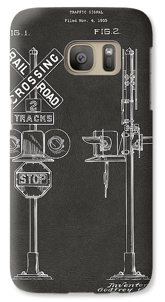1936 Rail Road Crossing Sign Patent Artwork - Gray Galaxy S7 Case by Nikki Marie Smith