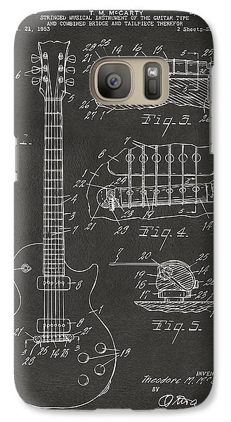 1955 Mccarty Gibson Les Paul Guitar Patent Artwork - Gray Galaxy S7 Case by Nikki Marie Smith