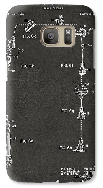 1963 Space Capsule Patent Gray Galaxy S7 Case by Nikki Marie Smith