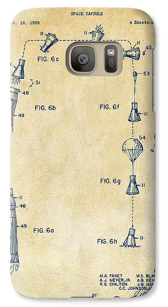 1963 Space Capsule Patent Vintage Galaxy S7 Case by Nikki Marie Smith