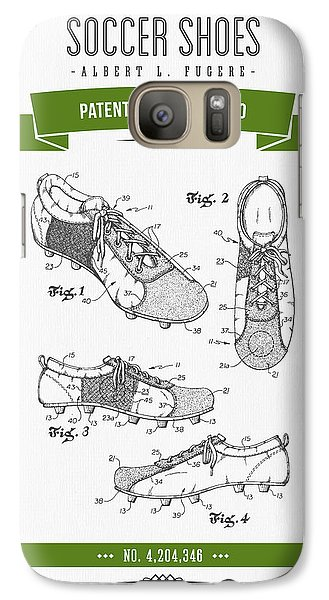 1980 Soccer Shoes Patent Drawing - Retro Green Galaxy S7 Case by Aged Pixel