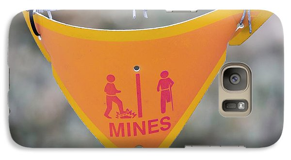 A Warning Sign About Mines Galaxy Case by Ashley Cooper