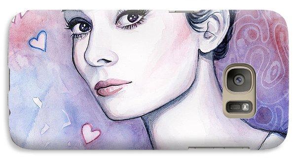 Audrey Hepburn Fashion Watercolor Galaxy Case by Olga Shvartsur