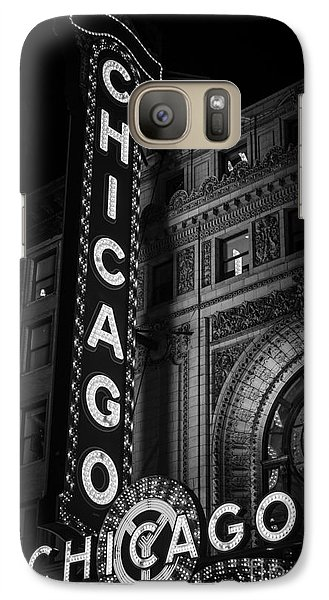 Chicago Theatre Sign In Black And White Galaxy Case by Paul Velgos