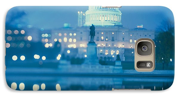 Government Building Lit Up At Night Galaxy Case by Panoramic Images