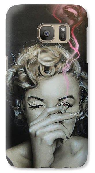 Marilyn Monroe - ' Marilyn's Crimson Haze ' Galaxy Case by Christian Chapman Art