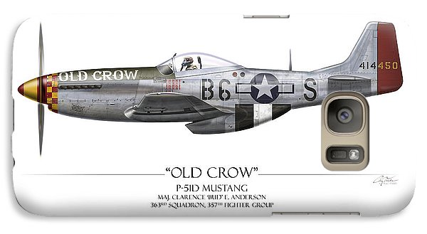 Old Crow P-51 Mustang - White Background Galaxy Case by Craig Tinder