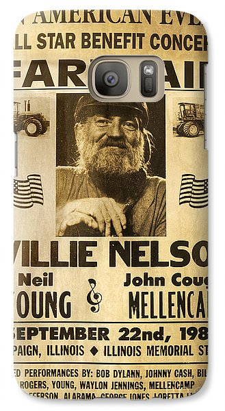 Vintage Willie Nelson 1985 Farm Aid Poster Galaxy S7 Case by John Stephens