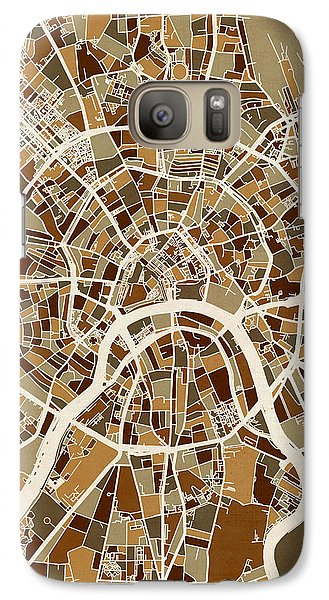 Moscow City Street Map Galaxy Case by Michael Tompsett
