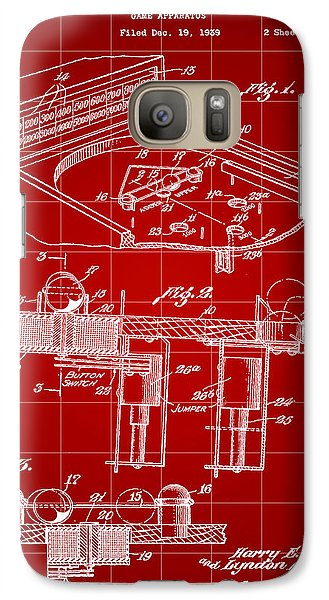 Pinball Machine Patent 1939 - Red Galaxy S7 Case by Stephen Younts