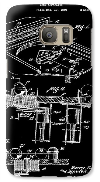 Pinball Machine Patent 1939 - Black Galaxy S7 Case by Stephen Younts