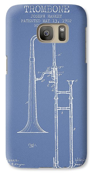 Trombone Patent From 1902 - Light Blue Galaxy S7 Case by Aged Pixel