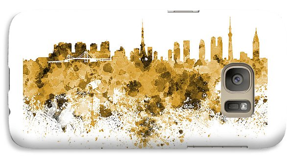 Tokyo Skyline In Watercolor On White Background Galaxy S7 Case by Pablo Romero