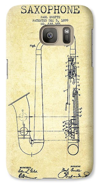 Saxophone Patent Drawing From 1899 - Vintage Galaxy S7 Case by Aged Pixel