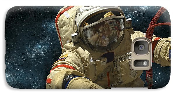 A Cosmonaut Against A Background Galaxy S7 Case by Marc Ward