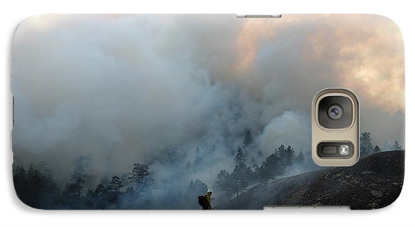 Galaxy Case featuring the photograph A Solitary Firefighter On The White Draw Fire by Bill Gabbert