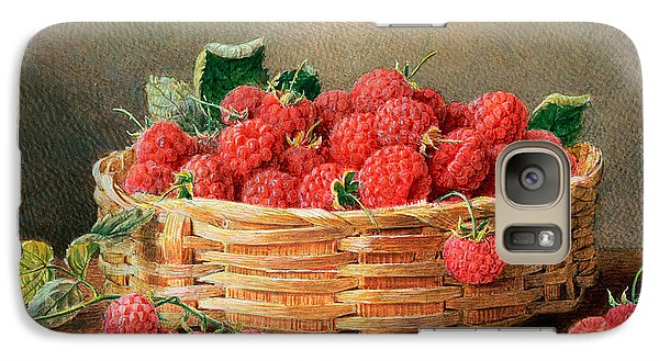A Still Life Of Raspberries In A Wicker Basket  Galaxy Case by William B Hough