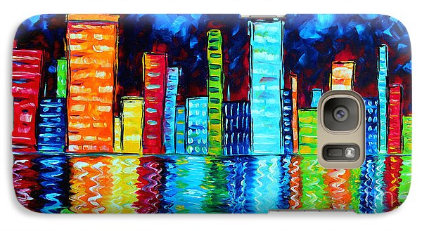 Abstract Art Landscape City Cityscape Textured Painting City Nights II By Madart Galaxy S7 Case by Megan Duncanson